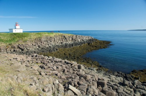 Baltsalt rock forms the shoreline and supports the Northern Lighthouse on Brier Island at the end of Digby Neck - Credit Photo Nova Scotia Tourism