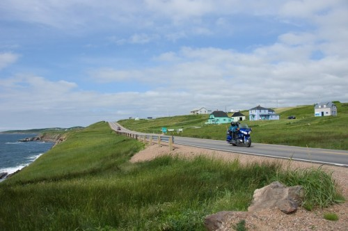 Motorcyclists enjoy coastal scenery on the Cabot Trail at Cap LeMoine - Credit Photo Nova Scotia Tourism
