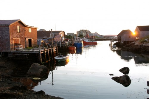 The setting sun at the fishing village at Peggy's Cove on Nova Scotia's South Shore - Credit Photo Nova Scotia Tourism